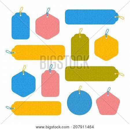 Set of bright blank tags. Round hexagonal rectangular and pentagonal form