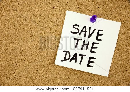 Save the date on cork board background Bussines Concept