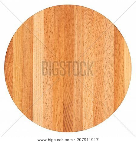 Beech cutting board isolated on white background top view