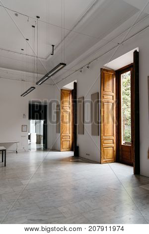 Madrid, Spain - September 30, 2017: Interior view of design classroom of the IED Madrid. It is a Centre for Higher Education in Design