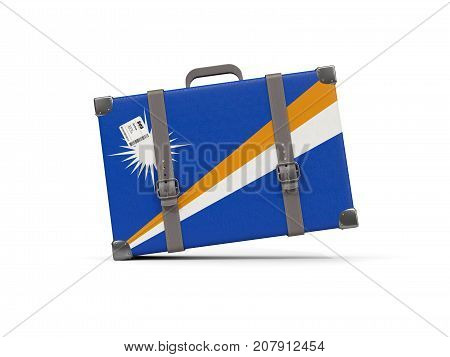 Luggage With Flag Of Marshall Islands. Suitcase Isolated On White