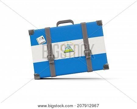Luggage with flag of nicaragua. Suitcase isolated on white. 3D illustration poster
