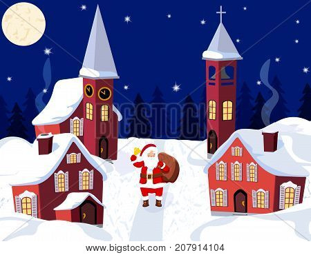 New Year Christmas. An image of Santa Claus. Winter city on New Year s Eve. Vector illustration