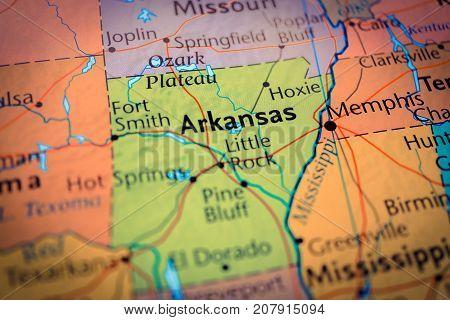 Vinnitsa, Ukraine - August 25 , 2017: Arkansas Map