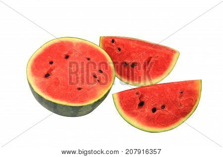 Tree watermelon,sliced watermelon,isolated watermelon ,melon,slice melon on white background