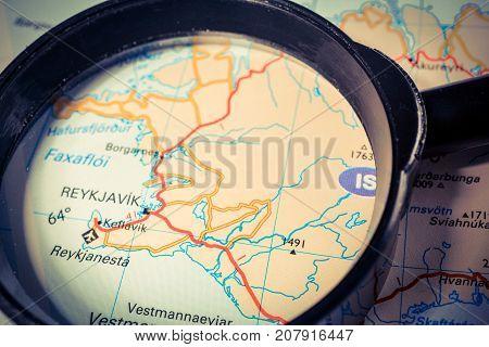 Vinnitsa, Ukraine - August 25 , 2017: Reykjavik Map Through The Magnifying Glass