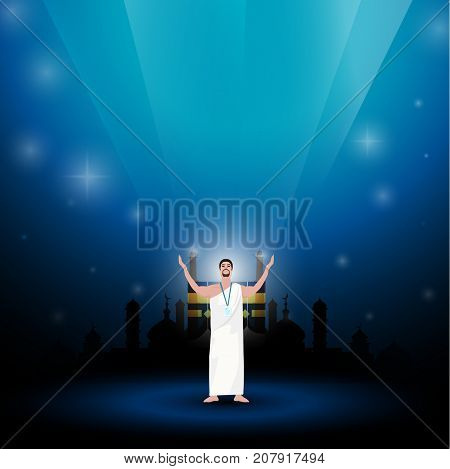 Muslim Man Wearing Ihram Clothes for Performing Hajj or Umrah Pilgrimage on a blue background.