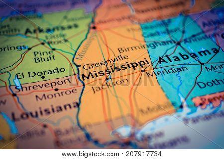 Vinnitsa, Ukraine - August 25 , 2017: Map Of Mississippi