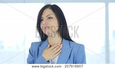 Woman Coughing Cough and Throat Sore in Office