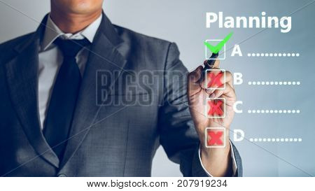 Businessman is planning business concept Planning Design Draw Teamwork Concept business background.