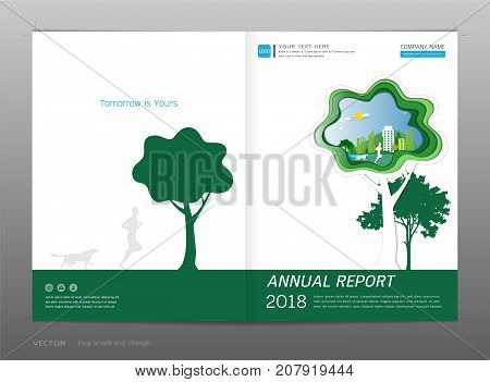 Cover design annual report, Green energy concept, Use for your design all media, Easy to use and edit by add your own logo, images, and text, whatever you want.