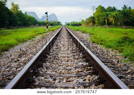 Single Straight Railway With Natural View