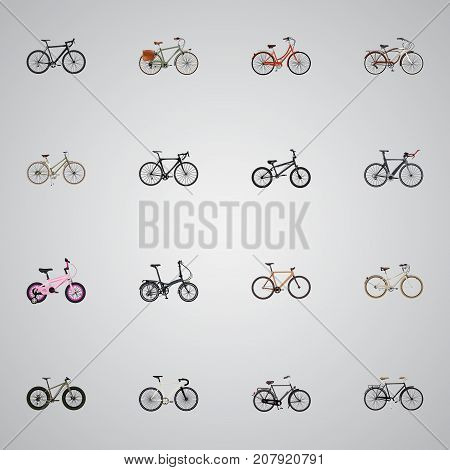 Realistic Journey Bike, For Girl, Childlike And Other Vector Elements