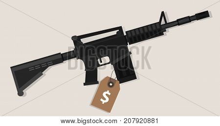 gun price value assault rifle army weapon financial symbol cost analysis trading transaction buy sell vector