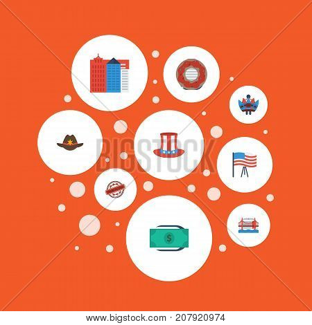 Flat Icons Greenback, Stamp, Doughnut And Other Vector Elements