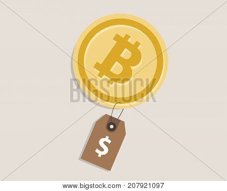 bit-coin price value currency coin exchange rate dollar cash buy sell vector