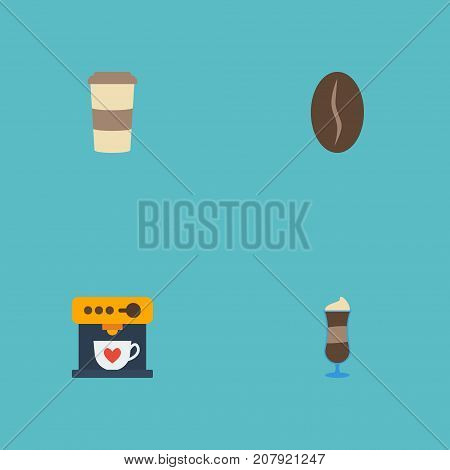 Flat Icons Coffeemaker, Plastic Cup, Arabica Bean And Other Vector Elements