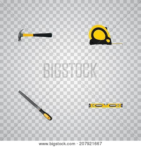 Realistic Claw, Plumb Ruler, Sharpener And Other Vector Elements