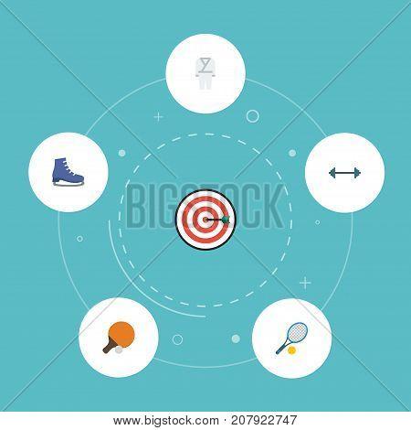 Flat Icons Kettlebells, Uniform, Rocket And Other Vector Elements