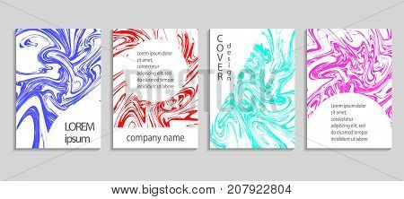 Marble Texture Covers Set. Artistic Covers Design. Creative Fluid Colors Backgrounds. Vector Templat