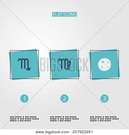Flat Icons Virgin, Lunar, Zodiac Sign And Other Vector Elements