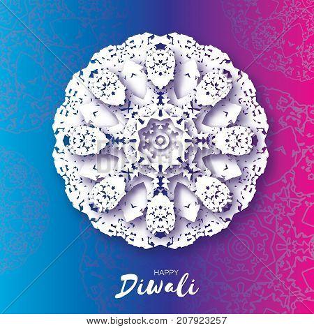 Happy Diwali. Indian celebration in paper cut style. Origami Beautiful Hindu festival of lights. White Mandala. Vector illustration
