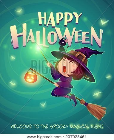 Happy Halloween. Halloween flying little witch. Girl kid in halloween costume holds a magic wand. Retro vintage. Turquoise background.
