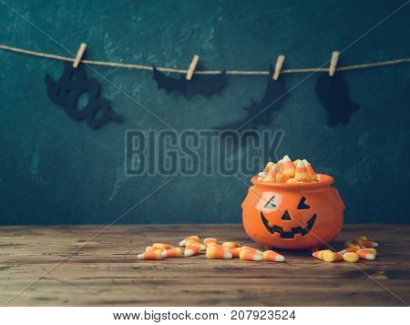 Halloween Celebration Concept With Candy Corn