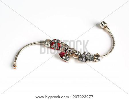 jewelry female bracelet on white background amulets jewelry macro jewelry items