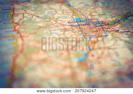 Vinnitsa Ukraine - August 25 2017: map of portland