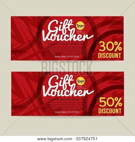 30 - 50 Percent Discount Voucher Template Vector Illustration. EPS 10