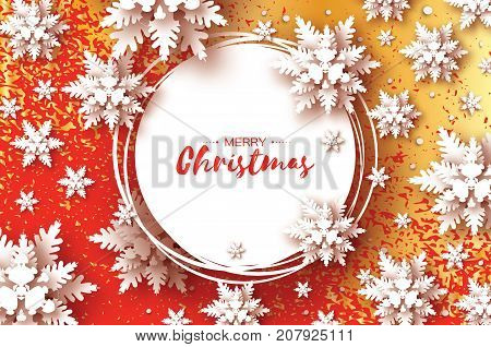 Origami Christmas Greetings card. Paper cut snow flake. Happy New Year. Winter snowflakes background. Circle frame. Space for text. Red background with gold glitter texture. Vector illustration.