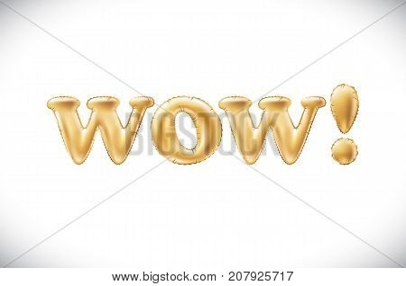 Vector Gold Wow! Alphabet Balloons, Acronym And Abbreviation, Golden Letter Balloon Wow