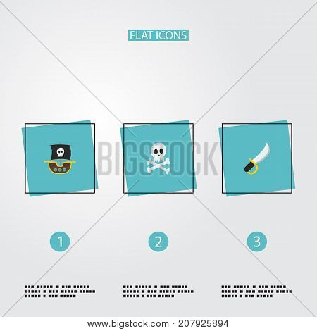 Flat Icons Vessel, Cranium, Sabre And Other Vector Elements