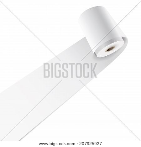 Vector blank paper roll on white background.