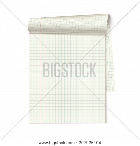 Vector blank notebook with curled page on white background.