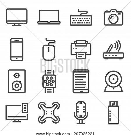 Vector line Electronic devices thin line icons