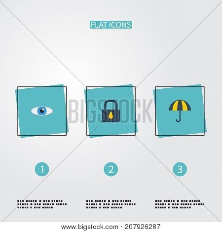 Flat Icons Padlock, Parasol, Vision And Other Vector Elements