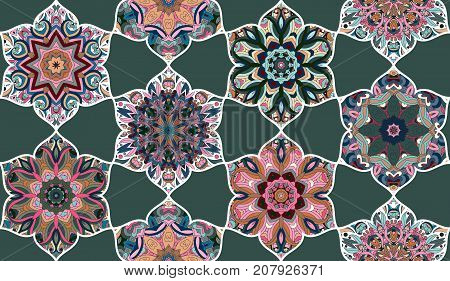 Mosaic seamless pattern. Abstract vector background. Wallpaper, fabric, textile, wrapping paper.