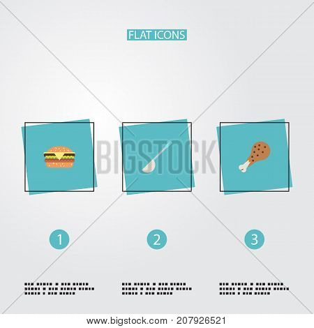 Flat Icons Fast Food, Soup Spoon, Fried Poultry And Other Vector Elements