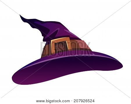Witch hat with a gold buckle. Isolated.