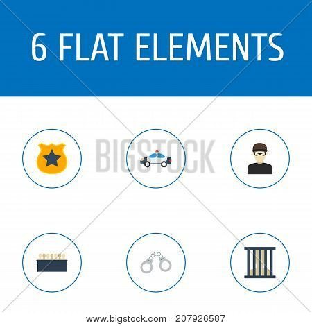 Flat Icons Thief, Jury, Manacles And Other Vector Elements