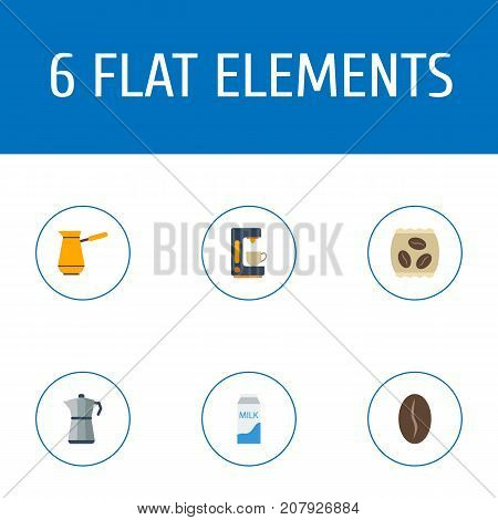 Flat Icons Espresso Dispenser, Ibrik, Package Latte And Other Vector Elements