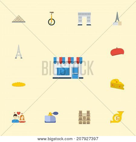 Flat Icons Cheddar, Trombone, Aroma And Other Vector Elements