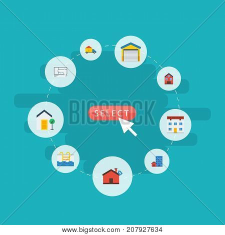Flat Icons Depot, Hypothec, Property And Other Vector Elements