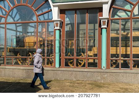 Novosibirsk, Russia - April 11, 2017: Museum of the locomotive of Provorny near the railway station in the city of Novosibirsk