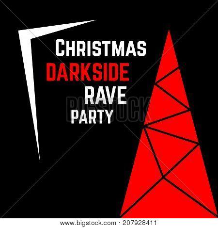 Christmass invitation card. Modern darkside rave party stylized poster