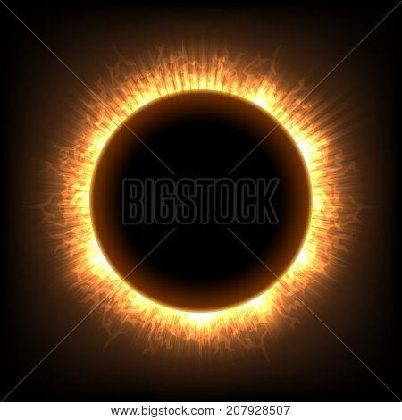 Total full moon solar eclipse vector illustration. Sun lighting ring corona astronomical dark fiction
