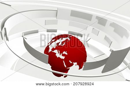 3D white curved shapes and red Earth globe. TV news, broadcasting, technology, science and engineering concept. Realistic shadows and reflections. 3D rendering.
