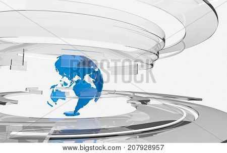 3D transparent glass curved shapes and blue Earth globe. TV news, broadcasting, technology, science and engineering concept. Realistic transparency, shadows and reflections. 3D rendering.